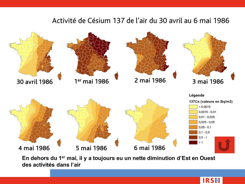 Activité de Césium 137 de l'air du 30 avril au 6 mai 1986 En dehors du 1 er mai, il y a toujours eu un nette diminution d'Est en Ouest des activités d