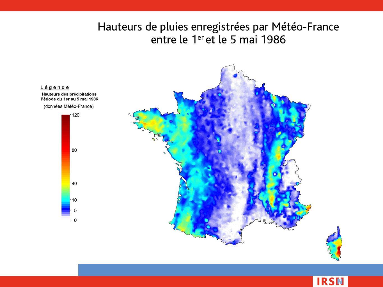 Hauteurs de pluies enregistrées par Météo-France entre le 1 er et le 5 mai 1986