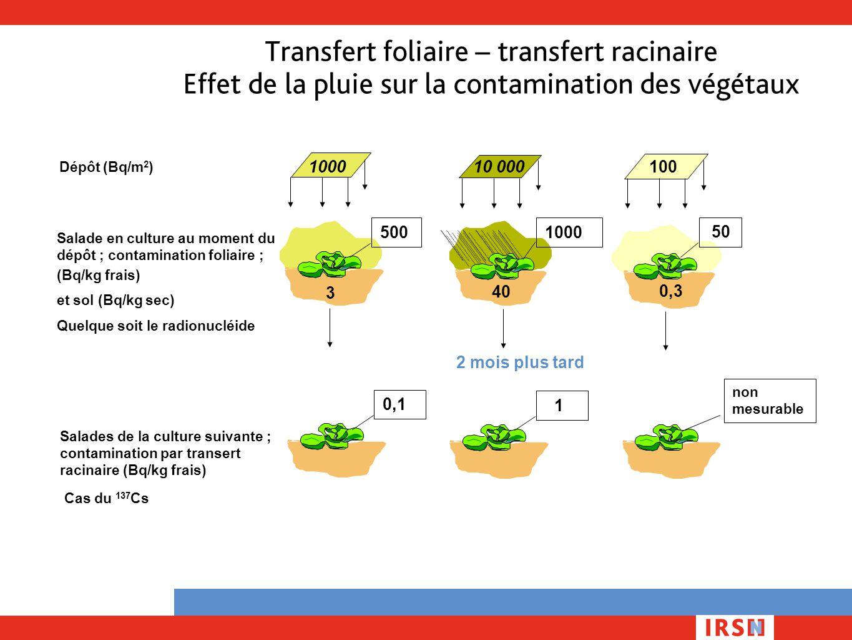 Transfert foliaire – transfert racinaire Effet de la pluie sur la contamination des végétaux 0,3 Dépôt (Bq/m 2 ) 100010010 000 1000 40 3 500 50 Salade