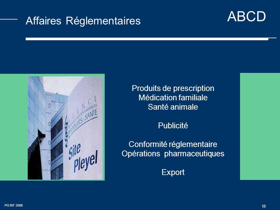 ABCD PG BIF 2006 18 Affaires Réglementaires Produits de prescription Médication familiale Santé animale Publicité Conformité réglementaire Opérations pharmaceutiques Export