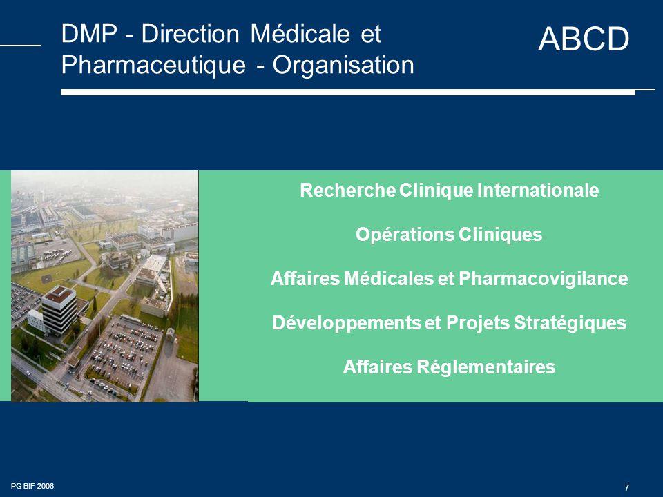 ABCD PG BIF 2006 7 DMP - Direction Médicale et Pharmaceutique - Organisation Recherche Clinique Internationale Opérations Cliniques Affaires Médicales et Pharmacovigilance Développements et Projets Stratégiques Affaires Réglementaires