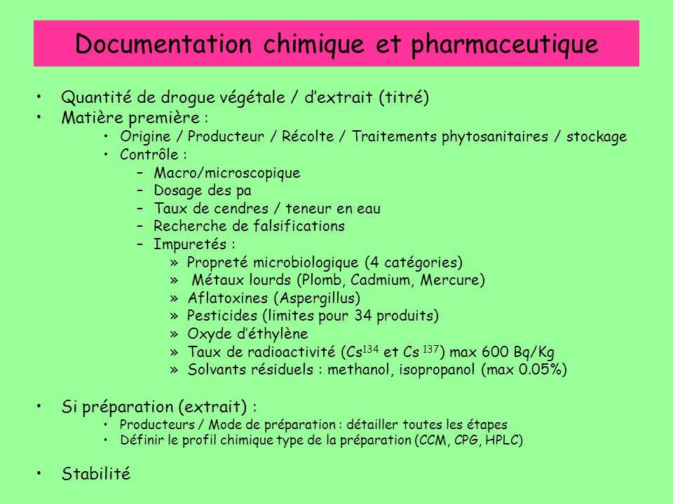 Documentation chimique et pharmaceutique Quantité de drogue végétale / d'extrait (titré) Matière première : Origine / Producteur / Récolte / Traitemen