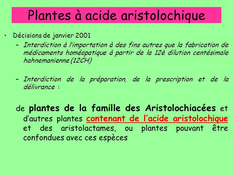 Plantes à acide aristolochique Décisions de janvier 2001 –Interdiction à l'importation à des fins autres que la fabrication de médicaments homéopatiqu