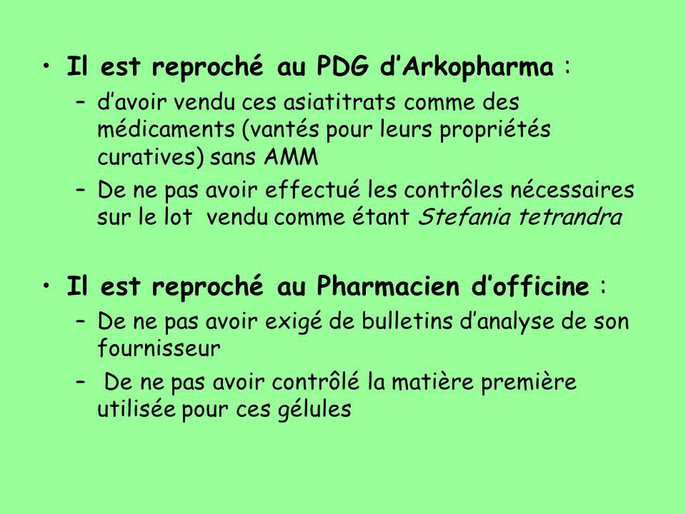 Il est reproché au PDG d'Arkopharma : –d'avoir vendu ces asiatitrats comme des médicaments (vantés pour leurs propriétés curatives) sans AMM –De ne pa