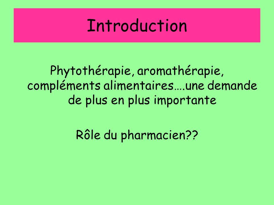 Introduction Phytothérapie, aromathérapie, compléments alimentaires….une demande de plus en plus importante Rôle du pharmacien??