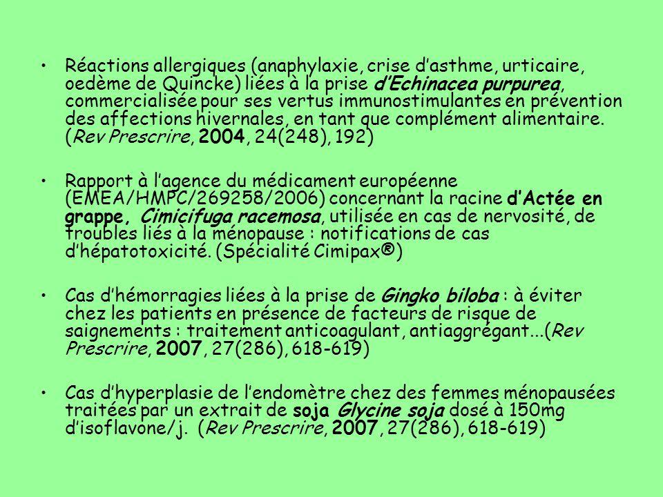Réactions allergiques (anaphylaxie, crise d'asthme, urticaire, oedème de Quincke) liées à la prise d'Echinacea purpurea, commercialisée pour ses vertu
