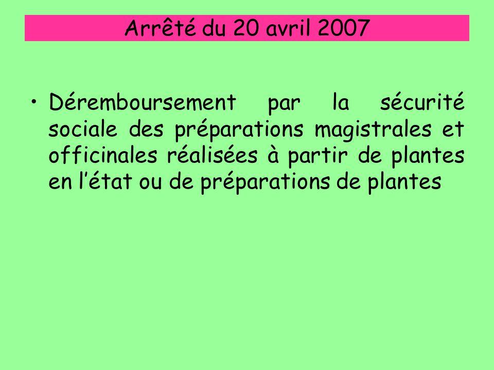 Arrêté du 20 avril 2007 Déremboursement par la sécurité sociale des préparations magistrales et officinales réalisées à partir de plantes en l'état ou