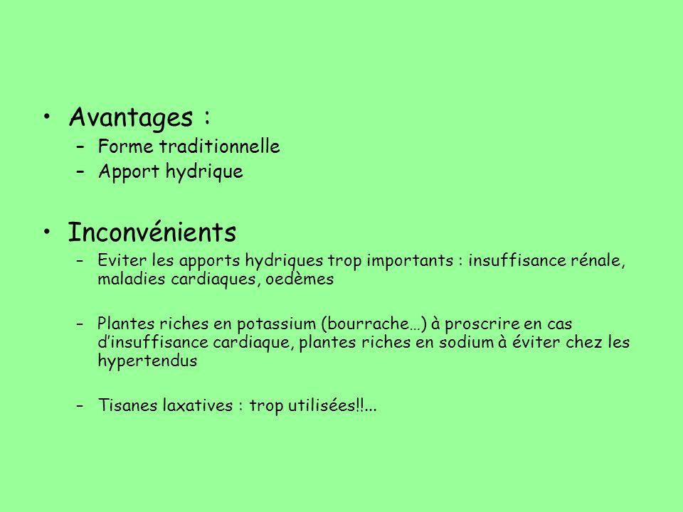 Avantages : –Forme traditionnelle –Apport hydrique Inconvénients –Eviter les apports hydriques trop importants : insuffisance rénale, maladies cardiaq