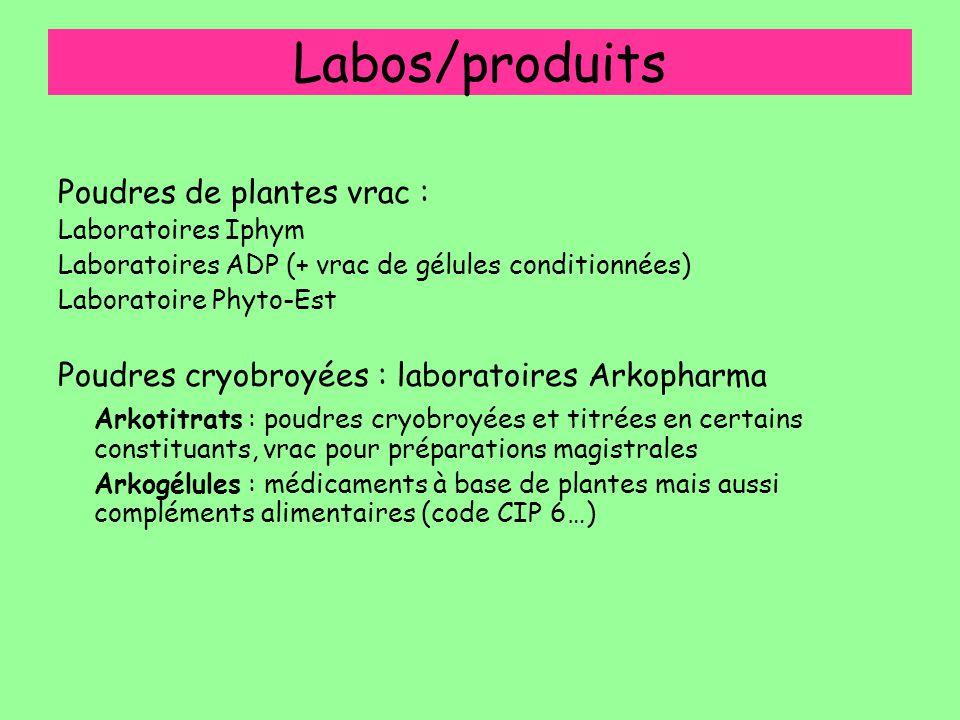 Labos/produits Poudres de plantes vrac : Laboratoires Iphym Laboratoires ADP (+ vrac de gélules conditionnées) Laboratoire Phyto-Est Poudres cryobroyé