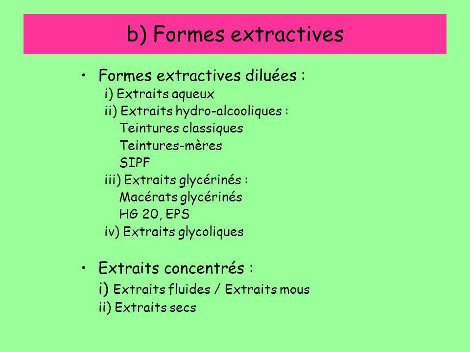 b) Formes extractives Formes extractives diluées : i) Extraits aqueux ii) Extraits hydro-alcooliques : Teintures classiques Teintures-mères SIPF iii)