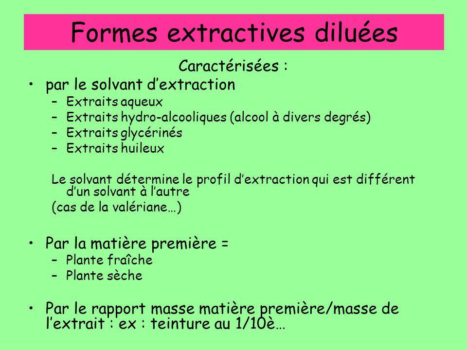 Formes extractives diluées Caractérisées : par le solvant d'extraction –Extraits aqueux –Extraits hydro-alcooliques (alcool à divers degrés) –Extraits