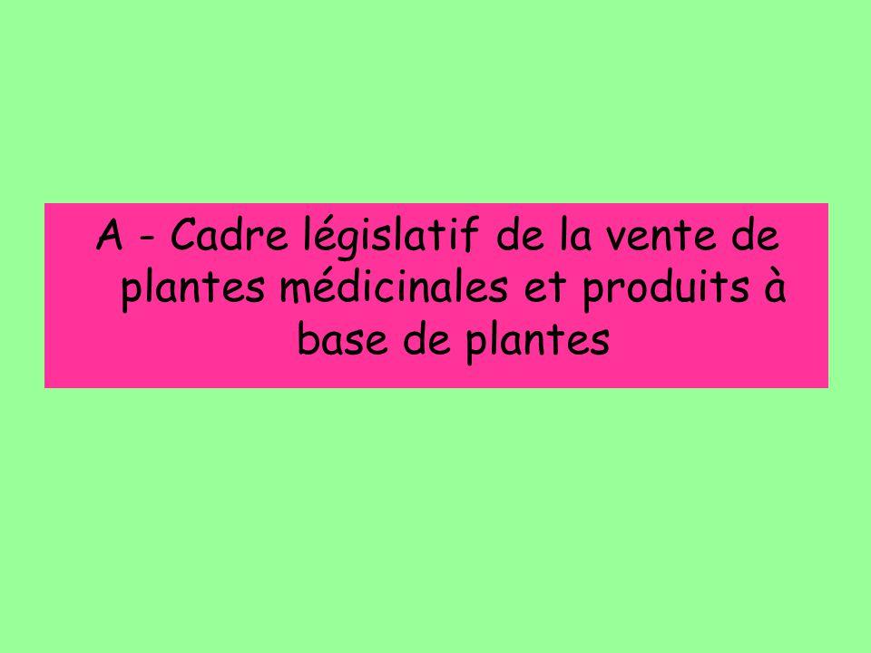Légalement, les TM de plantes décrites au cahier de l'agence devraient faire l'objet d'une AMM allégée, Toutes les autres TM (autres plantes des listes A et B) devraient faire l'objet d'une demande d'AMM complète Le prescripteur et le consommateur ne connaissent pas ces aspects législatifs et peuvent penser que si ces produits sont disponibles, ils ont subi tous les contrôles d'un médicament classique… TM commercialisées en tant que produit de phytothérapie
