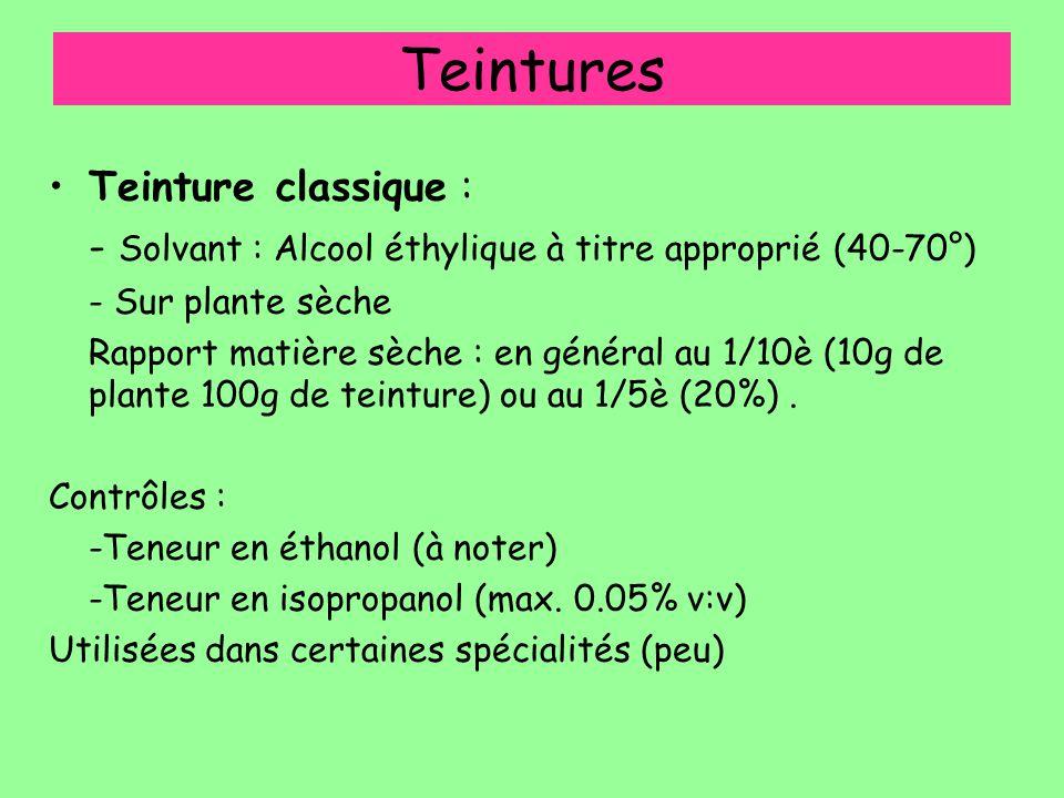 Teintures Teinture classique : - Solvant : Alcool éthylique à titre approprié (40-70°) - Sur plante sèche Rapport matière sèche : en général au 1/10è