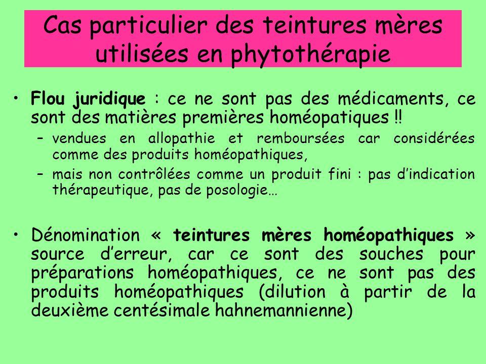 Cas particulier des teintures mères utilisées en phytothérapie Flou juridique : ce ne sont pas des médicaments, ce sont des matières premières homéopa