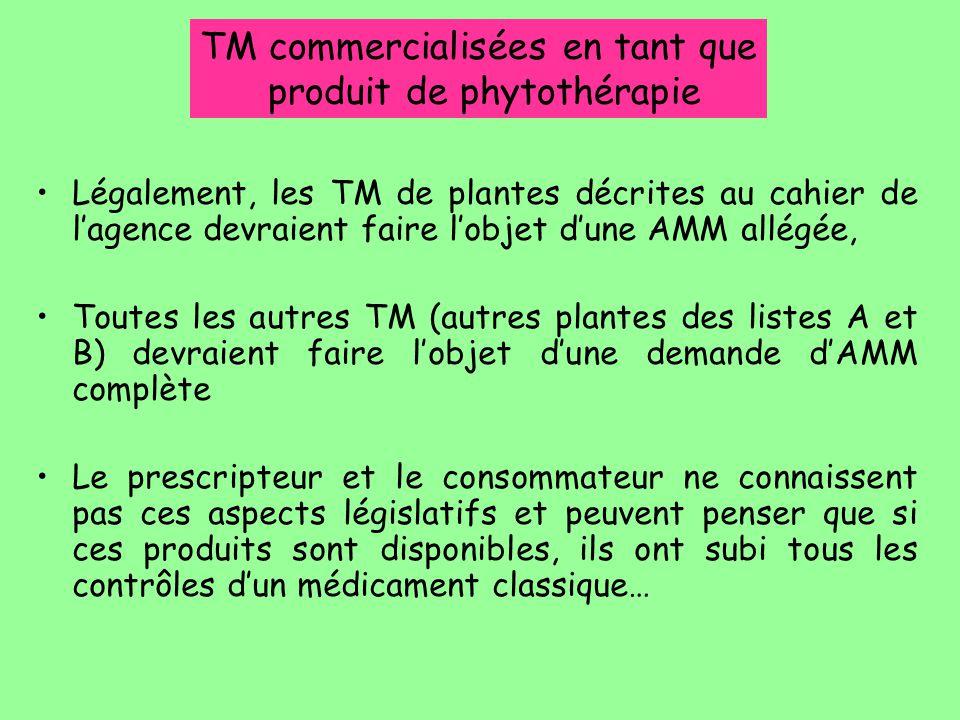 Légalement, les TM de plantes décrites au cahier de l'agence devraient faire l'objet d'une AMM allégée, Toutes les autres TM (autres plantes des liste