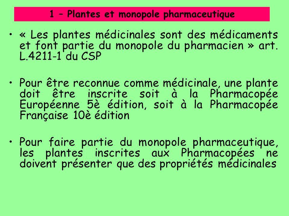 « Les plantes médicinales sont des médicaments et font partie du monopole du pharmacien » art. L.4211-1 du CSP Pour être reconnue comme médicinale, un