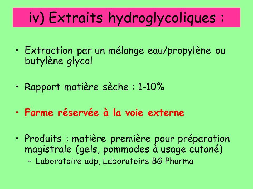 iv) Extraits hydroglycoliques : Extraction par un mélange eau/propylène ou butylène glycol Rapport matière sèche : 1-10% Forme réservée à la voie exte