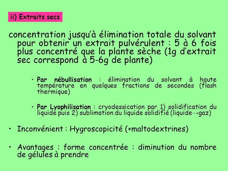 concentration jusqu'à élimination totale du solvant pour obtenir un extrait pulvérulent : 5 à 6 fois plus concentré que la plante sèche (1g d'extrait