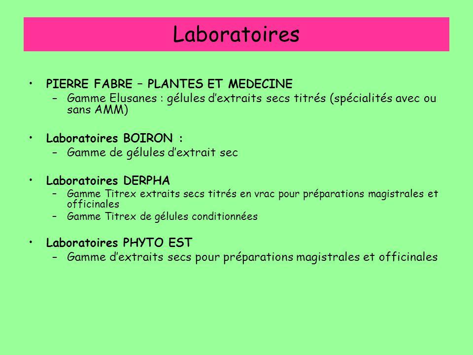 Laboratoires PIERRE FABRE – PLANTES ET MEDECINE –Gamme Elusanes : gélules d'extraits secs titrés (spécialités avec ou sans AMM) Laboratoires BOIRON :