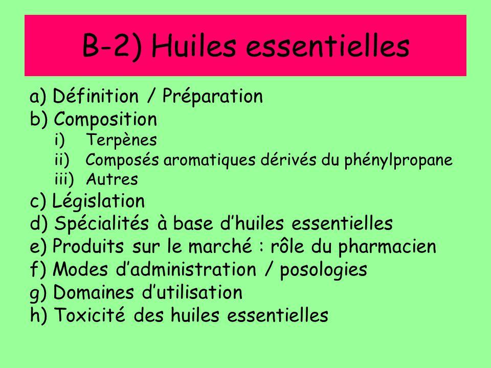 B-2) Huiles essentielles a) Définition / Préparation b) Composition i)Terpènes ii)Composés aromatiques dérivés du phénylpropane iii)Autres c) Législat