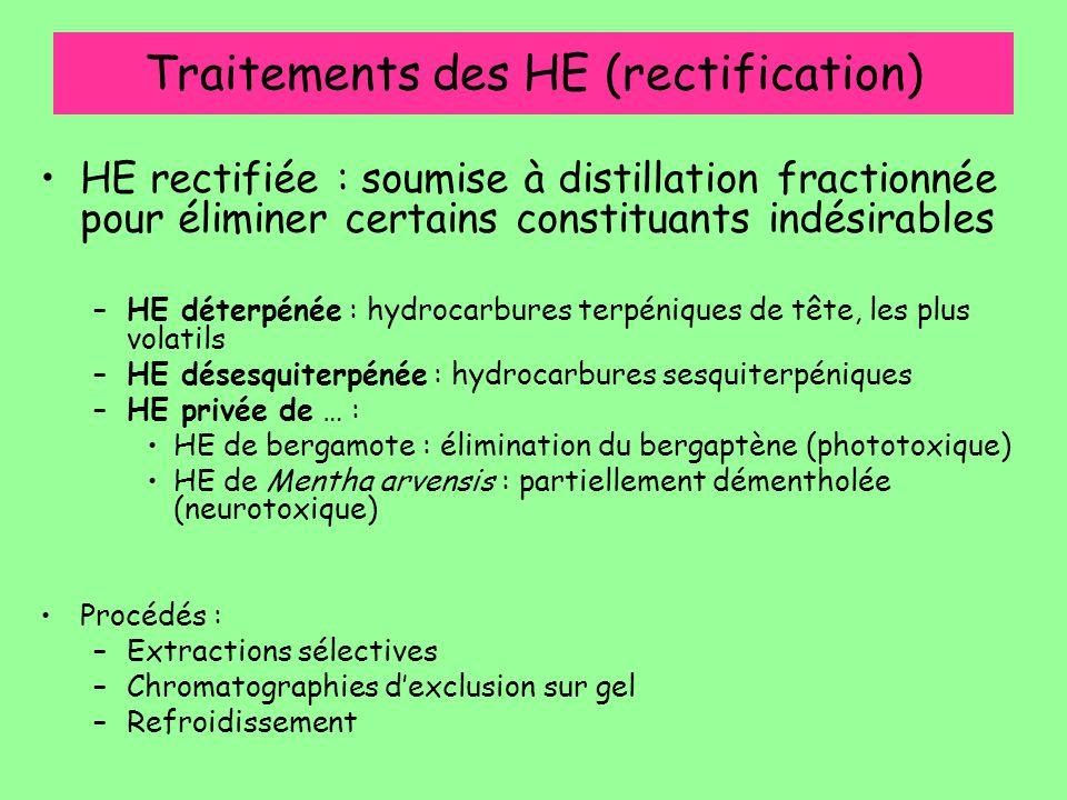 Traitements des HE (rectification) HE rectifiée : soumise à distillation fractionnée pour éliminer certains constituants indésirables –HE déterpénée :