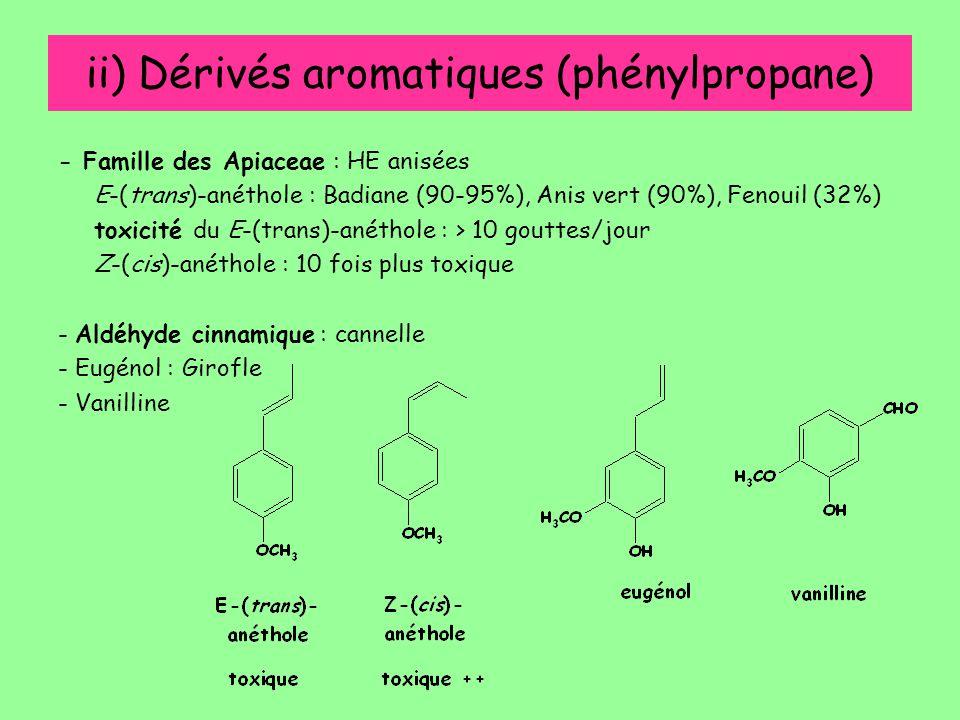 ii) Dérivés aromatiques (phénylpropane) - Famille des Apiaceae : HE anisées E-(trans)-anéthole : Badiane (90-95%), Anis vert (90%), Fenouil (32%) toxi
