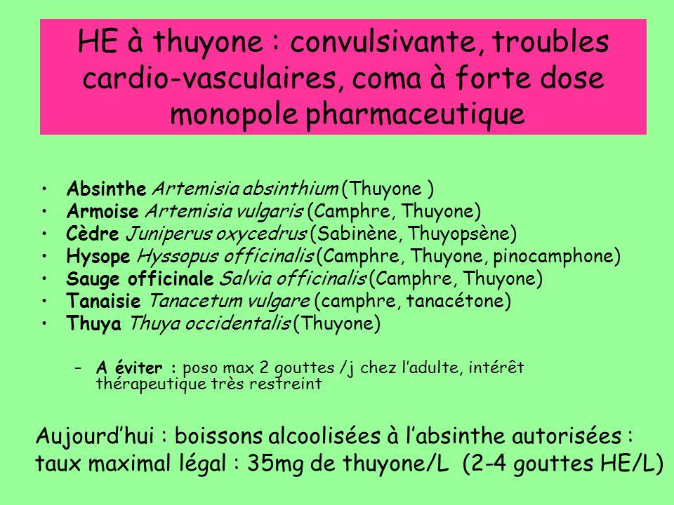 HE à thuyone : convulsivante, troubles cardio-vasculaires, coma à forte dose monopole pharmaceutique Absinthe Artemisia absinthium (Thuyone ) Armoise