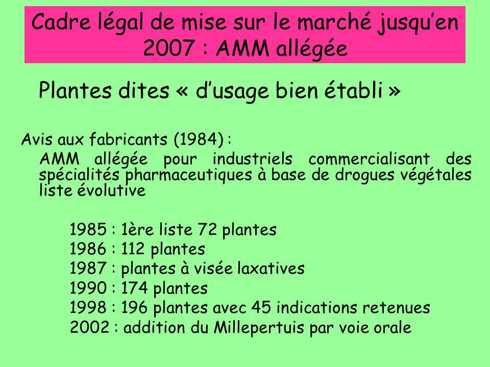 Cadre légal de mise sur le marché jusqu'en 2007 : AMM allégée Plantes dites « d'usage bien établi » Avis aux fabricants (1984) : AMM allégée pour indu