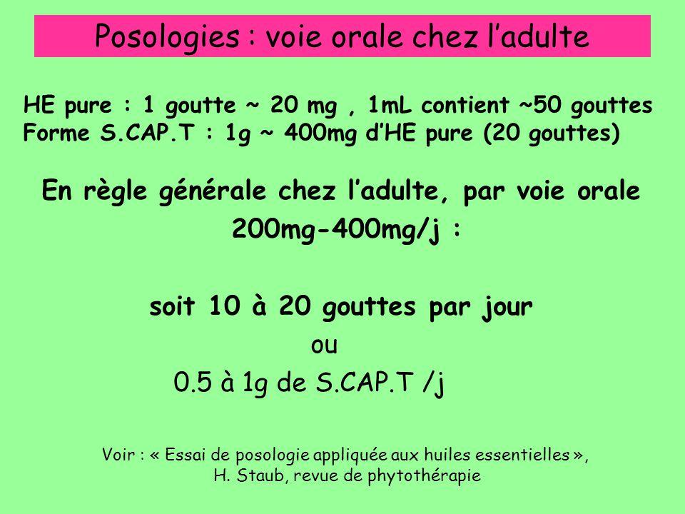 Posologies : voie orale chez l'adulte En règle générale chez l'adulte, par voie orale 200mg-400mg/j : soit 10 à 20 gouttes par jour ou 0.5 à 1g de S.C
