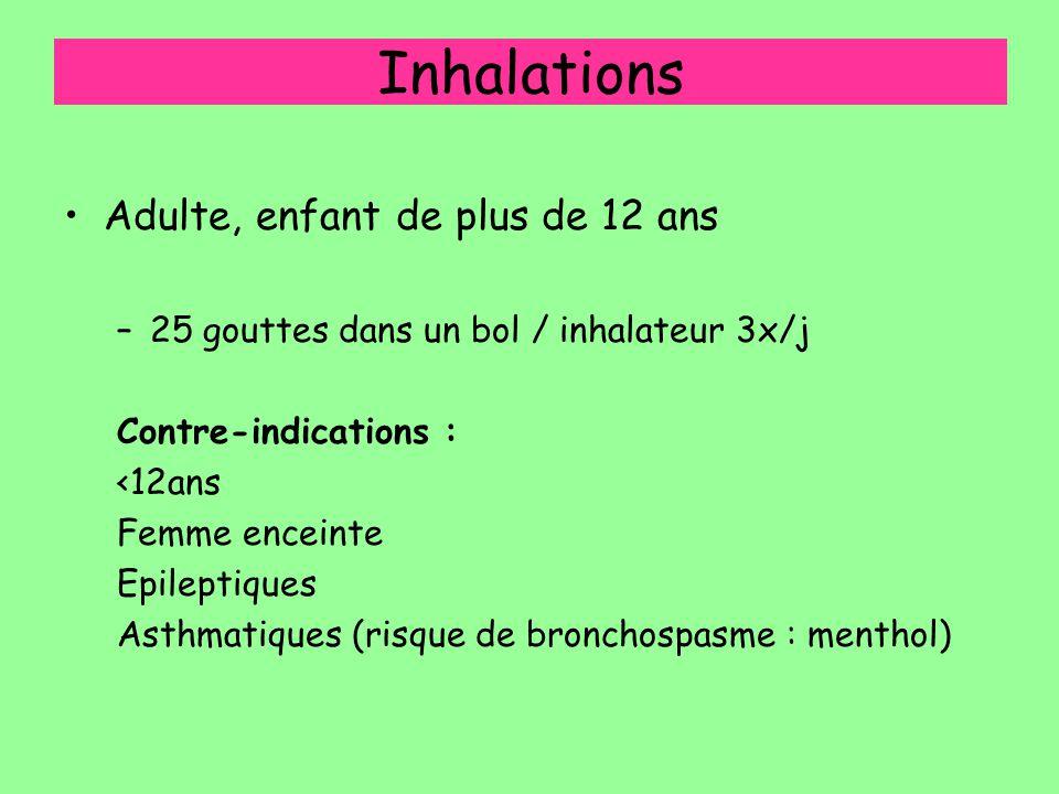 Inhalations Adulte, enfant de plus de 12 ans –25 gouttes dans un bol / inhalateur 3x/j Contre-indications : <12ans Femme enceinte Epileptiques Asthmat