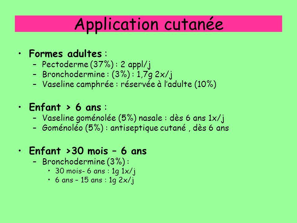 Application cutanée Formes adultes : –Pectoderme (37%) : 2 appl/j –Bronchodermine : (3%) : 1,7g 2x/j –Vaseline camphrée : réservée à l'adulte (10%) En