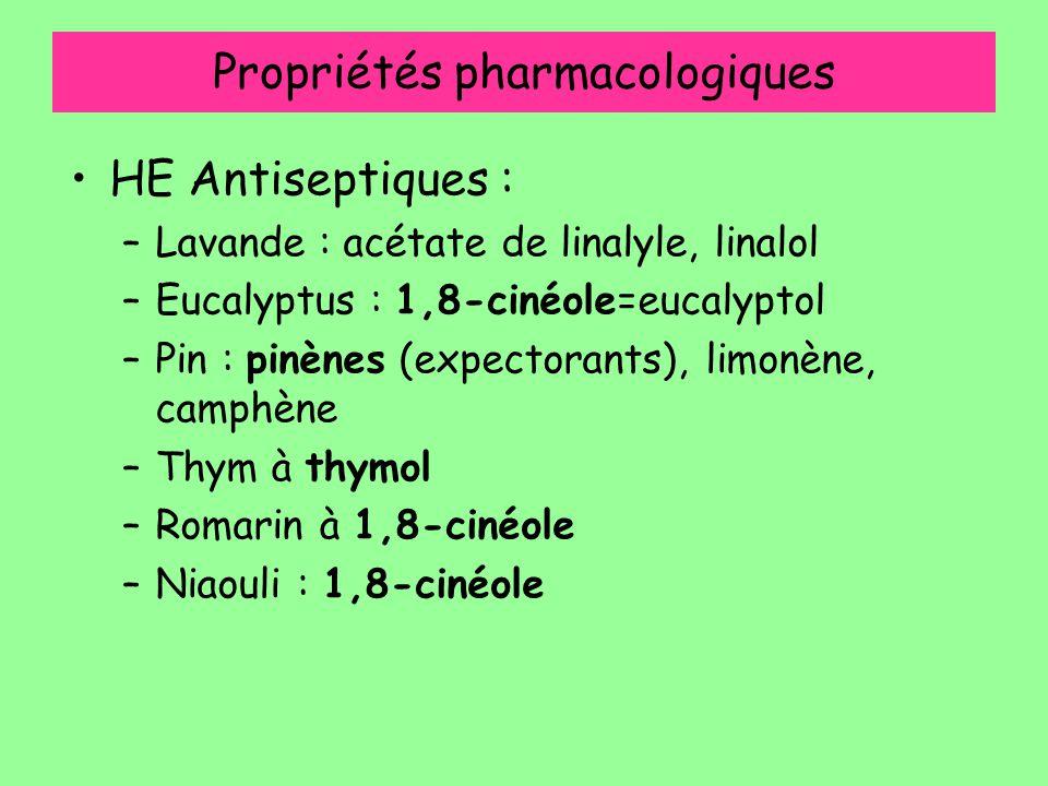 Propriétés pharmacologiques HE Antiseptiques : –Lavande : acétate de linalyle, linalol –Eucalyptus : 1,8-cinéole=eucalyptol –Pin : pinènes (expectoran