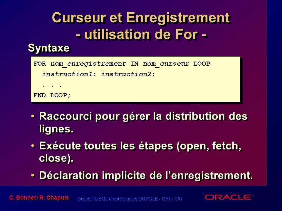 Cours PL/SQL d'après cours ORACLE - OAI / 101 C.Bonnet / R.