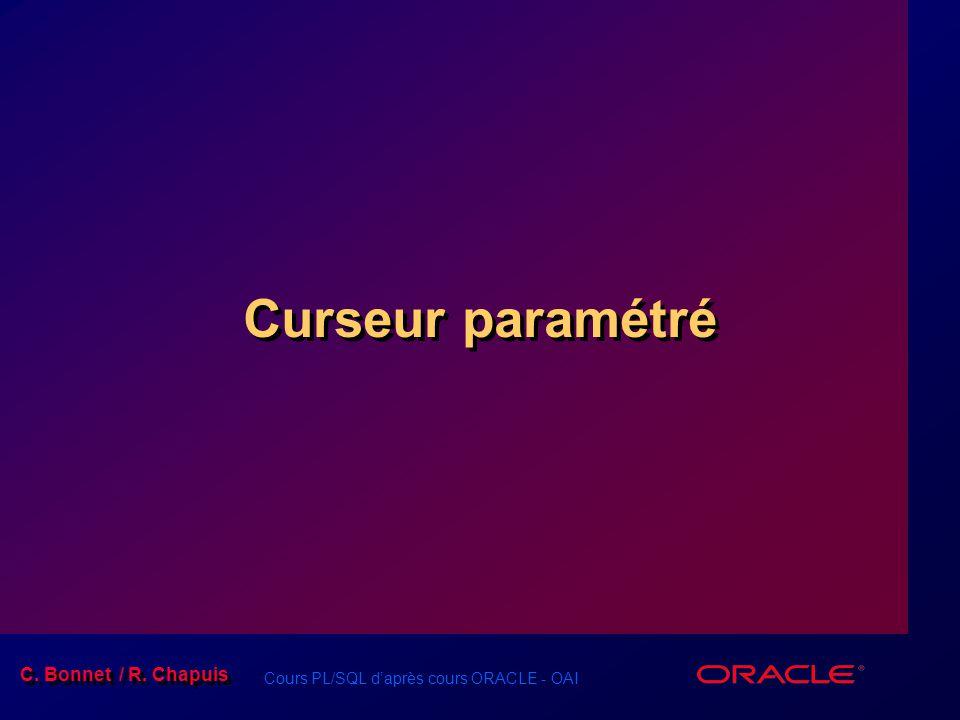 Cours PL/SQL d'après cours ORACLE - OAI C. Bonnet / R. Chapuis Curseur paramétré