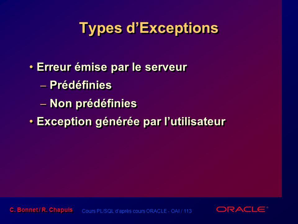 Cours PL/SQL d'après cours ORACLE - OAI / 114 C.Bonnet / R.