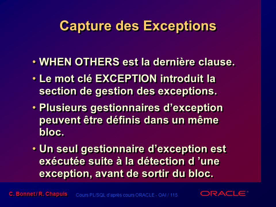 Cours PL/SQL d'après cours ORACLE - OAI / 115 C. Bonnet / R. Chapuis Capture des Exceptions WHEN OTHERS est la dernière clause. Le mot clé EXCEPTION i