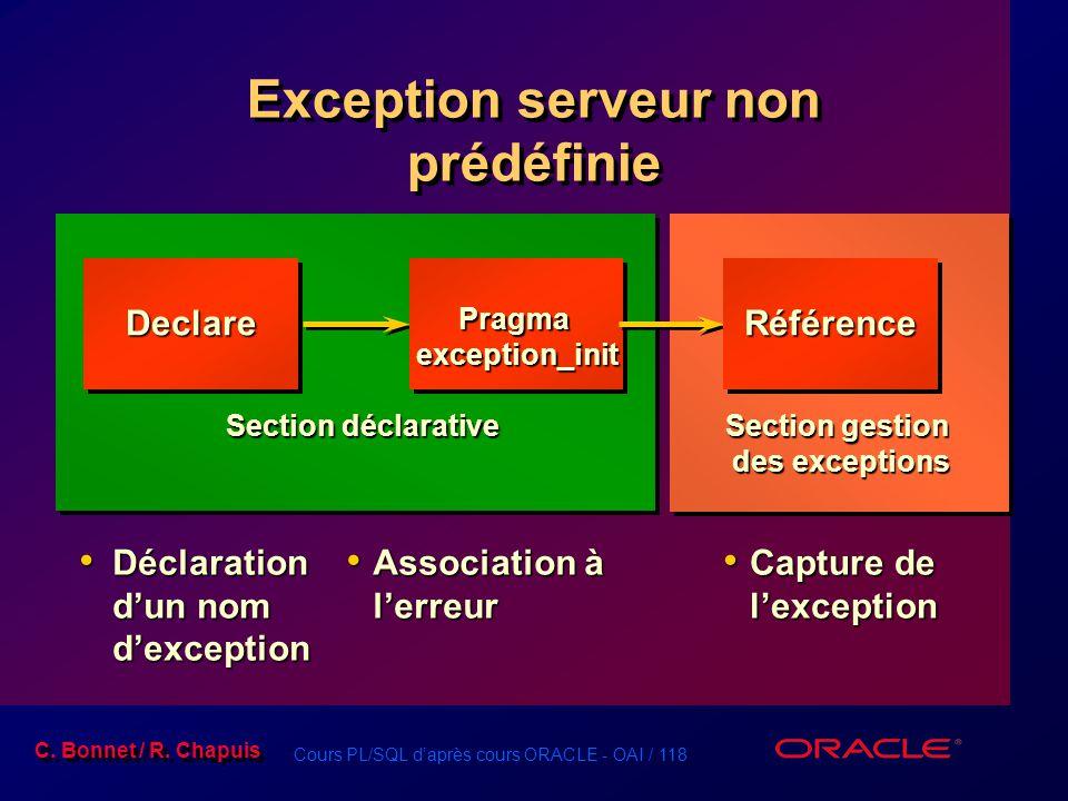 Cours PL/SQL d'après cours ORACLE - OAI / 118 C. Bonnet / R. Chapuis Exception serveur non prédéfinie Declare Déclaration d'un nom d'exception Déclara