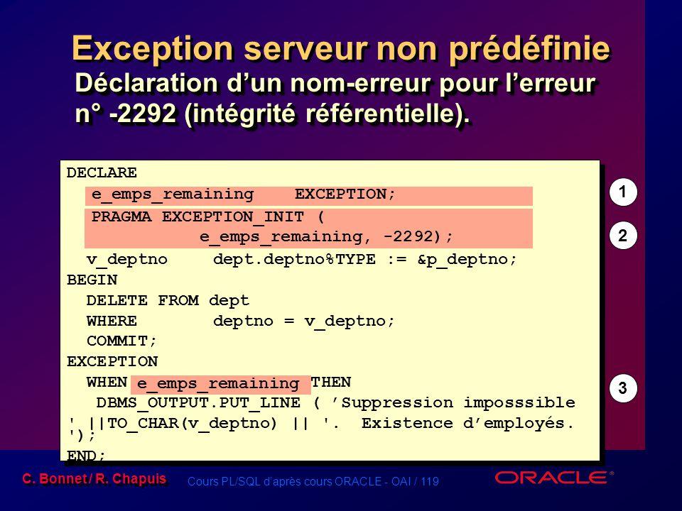 Cours PL/SQL d'après cours ORACLE - OAI / 119 C. Bonnet / R. Chapuis DECLARE e_emps_remainingEXCEPTION; PRAGMA EXCEPTION_INIT ( e_emps_remaining, -229