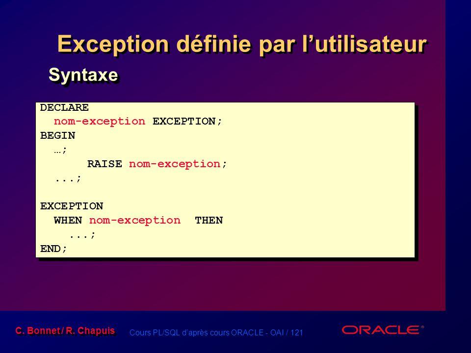 Cours PL/SQL d'après cours ORACLE - OAI / 121 C. Bonnet / R. Chapuis Exception définie par l'utilisateur DECLARE nom-exception EXCEPTION; BEGIN …; RAI