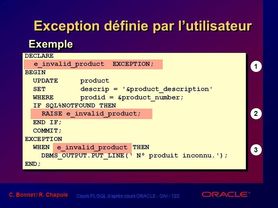 Cours PL/SQL d'après cours ORACLE - OAI / 122 C. Bonnet / R. Chapuis Exception définie par l'utilisateur DECLARE e_invalid_product EXCEPTION; BEGIN UP
