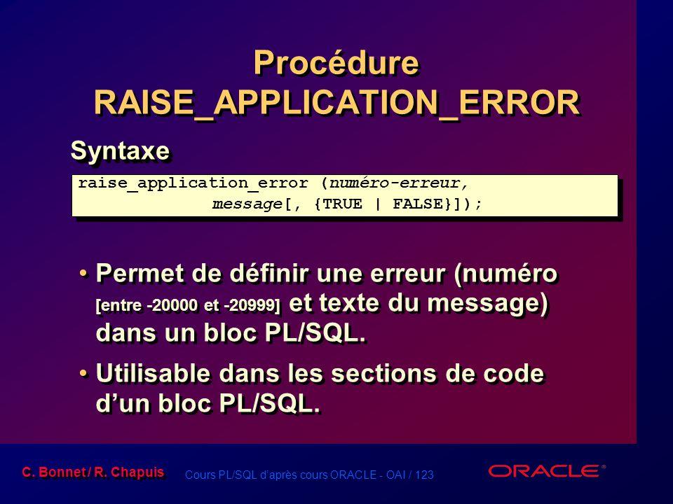 Cours PL/SQL d'après cours ORACLE - OAI / 123 C. Bonnet / R. Chapuis Procédure RAISE_APPLICATION_ERROR Syntaxe Permet de définir une erreur (numéro [e