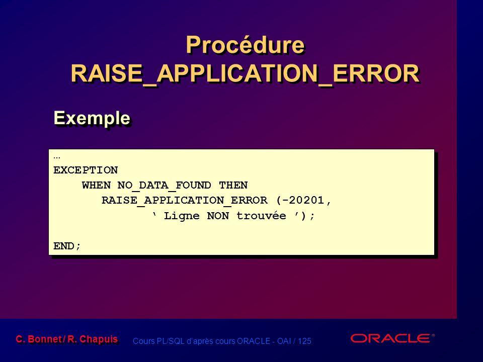 Cours PL/SQL d'après cours ORACLE - OAI / 125 C. Bonnet / R. Chapuis Procédure RAISE_APPLICATION_ERROR … EXCEPTION WHEN NO_DATA_FOUND THEN RAISE_APPLI