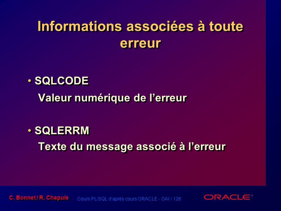 Cours PL/SQL d'après cours ORACLE - OAI / 126 C. Bonnet / R. Chapuis Informations associées à toute erreur SQLCODE Valeur numérique de l'erreur SQLERR