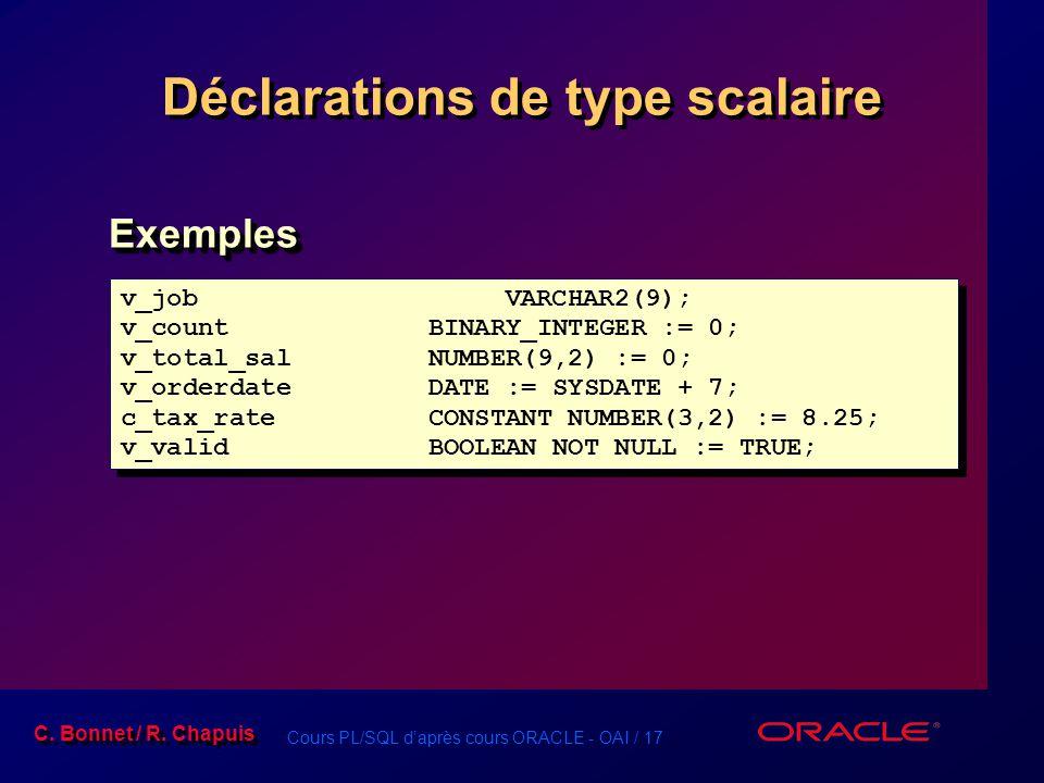 Cours PL/SQL d'après cours ORACLE - OAI / 17 C. Bonnet / R. Chapuis Déclarations de type scalaire v_jobVARCHAR2(9); v_countBINARY_INTEGER := 0; v_tota
