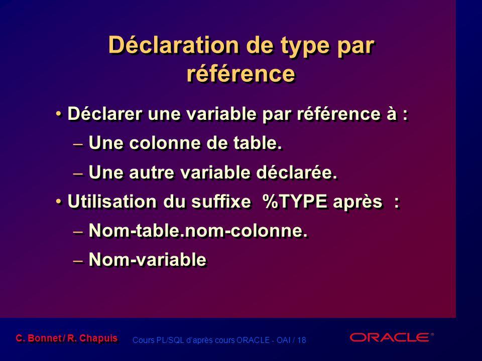 Cours PL/SQL d'après cours ORACLE - OAI / 18 C. Bonnet / R. Chapuis Déclaration de type par référence Déclarer une variable par référence à : – Une co