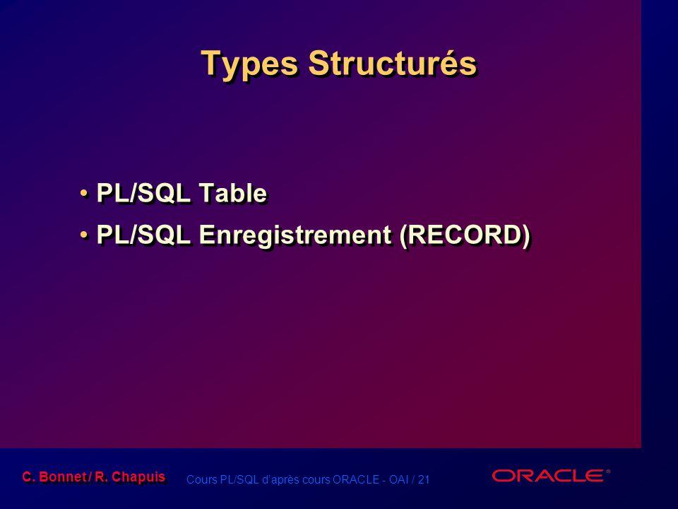 Cours PL/SQL d'après cours ORACLE - OAI / 22 C.Bonnet / R.
