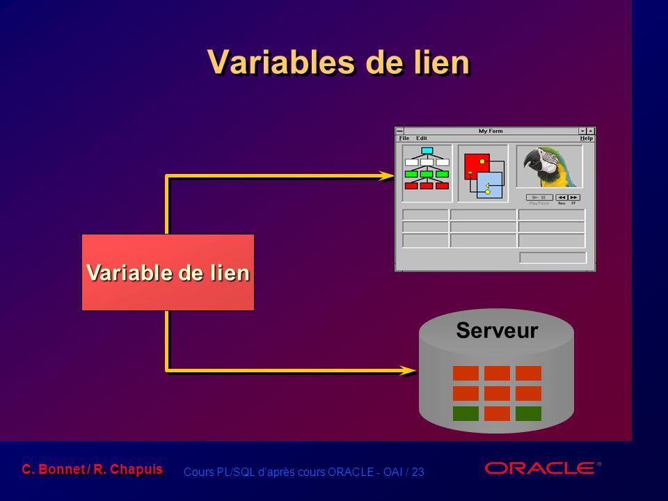 Cours PL/SQL d'après cours ORACLE - OAI / 23 C. Bonnet / R. Chapuis Variables de lien Serveur Variable de lien
