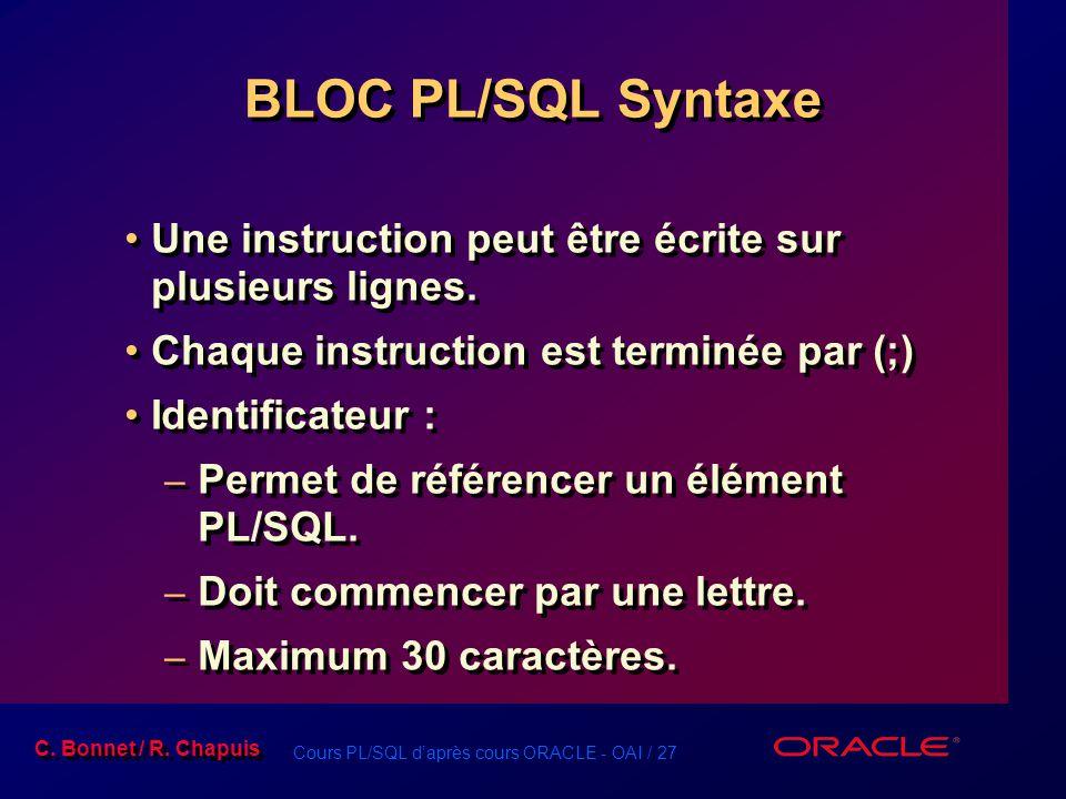 Cours PL/SQL d'après cours ORACLE - OAI / 27 C. Bonnet / R. Chapuis BLOC PL/SQL Syntaxe Une instruction peut être écrite sur plusieurs lignes. Chaque
