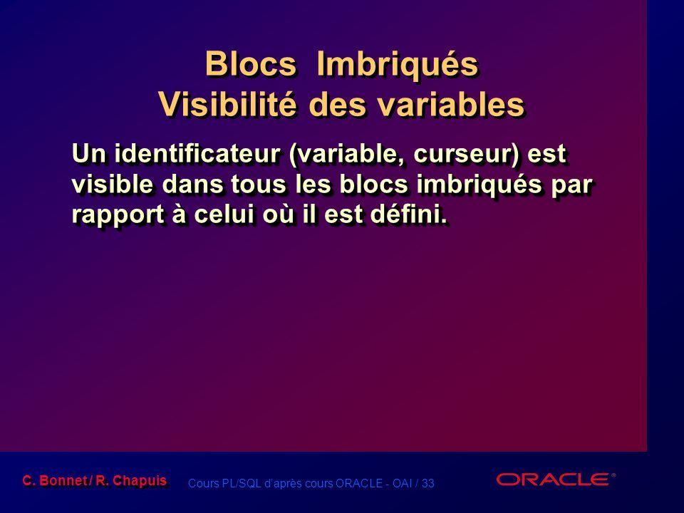 Cours PL/SQL d'après cours ORACLE - OAI / 33 C. Bonnet / R. Chapuis Blocs Imbriqués Visibilité des variables Un identificateur (variable, curseur) est
