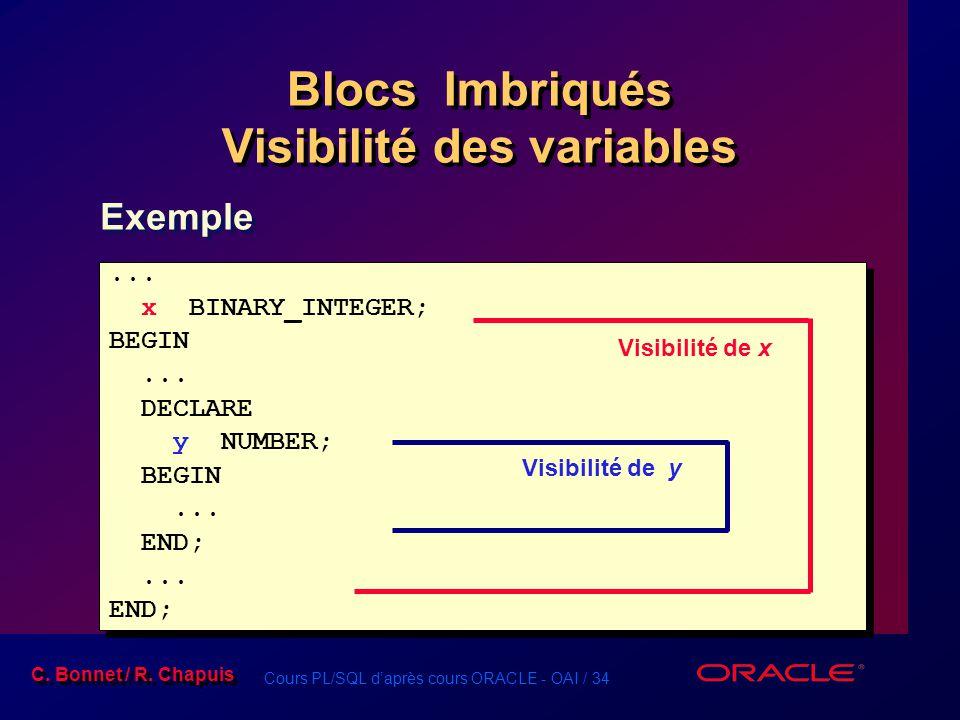 Cours PL/SQL d'après cours ORACLE - OAI / 34 C. Bonnet / R. Chapuis Blocs Imbriqués Visibilité des variables... x BINARY_INTEGER; BEGIN... DECLARE y N
